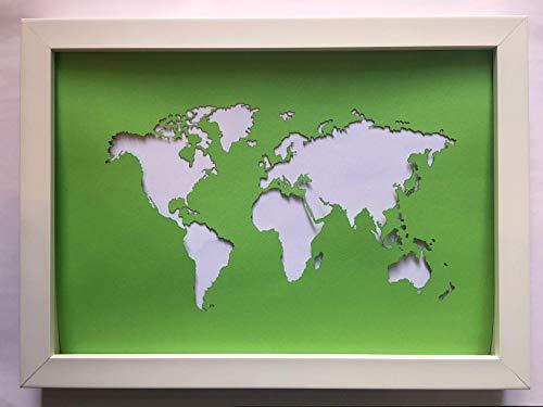 Geldgeschenk Weltkarte im Bilderrahmen, Hochzeitsgeschenk, Geburtstagsgeschenk, Geldverpackung DIN A4