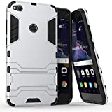 Coque Huawei P8 Lite 2017, MHHQ 2 en 1 Armour Style Robuste Hybrides Double Couche Armure Defender TPU + PC Hard Coques Case Cover avec Kickstand Support pour Huawei P8 Lite 2017 -Silver