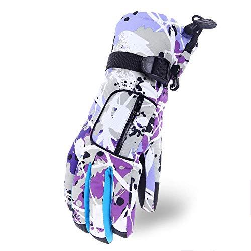 LYJNBB Gants de Ski imperméables, pour Femmes avec Poche Gants Thermiques pour l'hiver, Convient aux Femmes Ski Alpin Snowboard Vélo Escalade Sports de Plein air, 6 Couleurs,Purple