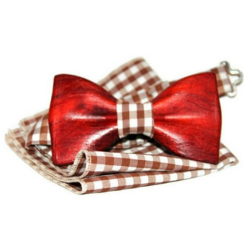 Red wood Bow tie Handcrafted bow tie Wooden tie Men's tie Kids tie Mens bow tie Wood bow tie Wood tie Man bow tie