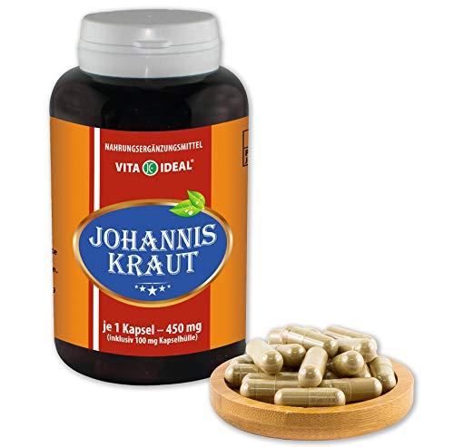 VITAIDEAL ® Johanniskraut (Hypericum perforatum) 180 Kapseln je 450mg, aus rein natürlichen Kräutern ohne Zusatzstoffe