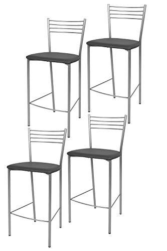 t m c s Tommychairs - Set 4 sgabelli Alti Modello Elena per Cucina e Bar, Struttura in Acciaio Verniciata Colore Alluminio e Seduta Imbottita e Rivestita in Pelle Artificiale Colore Grigio Scuro