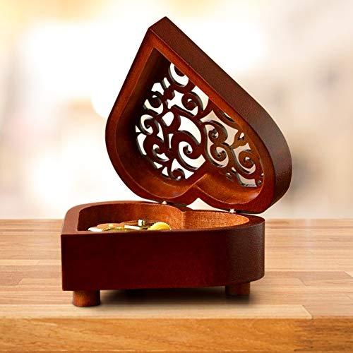Shirylzee Spieluhr,Handarbeit,aus Holz,Kurbel,Musikbox,Beauty and The Beast,klassisch,kreativ,Handwerk,aus Holz,Geschenke,Spieluhr Klein Die Schöne und das Biest