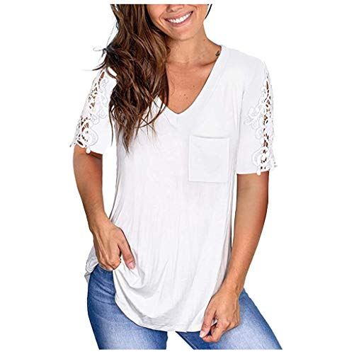 UROSA Summer Women's Casual Lace Short Sleeve Plus-Size V-Neck Pocket T-Shirt Loose T-Shirt Blouse Tank Tee Tops White
