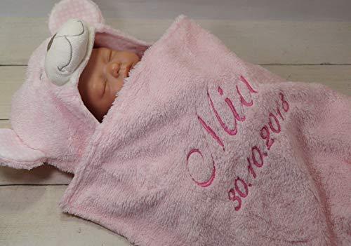 Zweilagige Babydecke mit Namen und Datum bestickt - Wagendecke - 3D Motiven - (Rosa Teddybär) (302021)