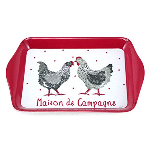Les Trésors De Lily [A1082 - Petit Plateau mélamine 'Poules' Rouge Blanc Gris (Maison de Campagne) - 21x14 cm