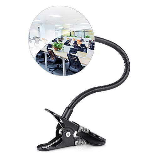 """Flexible 4"""" Rear View Security Mirror, HENGSHENG Convex Corner Mirror Clip On Desk or Cubicle to Extends Office Environment View"""