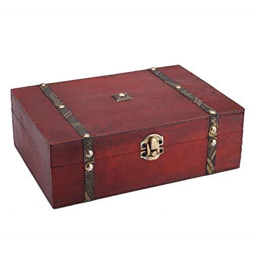 Lazmin Retro Holzkiste, altmodische antike Schmuckkosmetik Aufbewahrungsbox mit Deckel, Geschenken und Dekoration