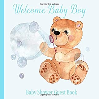 Baby Shower Guest Book Welcome Baby Boy: Teddy Bear Blue Navy Theme Decorations   Sign in Guestbook Keepsake with Address, Baby Predictions, Advice for Parents, Wishes, Photo & Gift Log