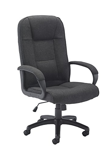 Office Hippo Dynamo Executive High Back Desk Office Chair with Upholstered Arms, Fabric, Charcoal, 54 x 55 x 101.2 cm