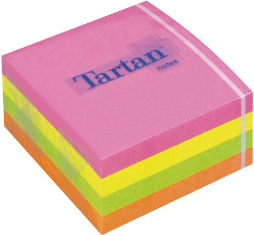 Tartan 7676C-N Haftnotiz Würfel Neon, 63 g/qm, 76 x 37 x 76 mm, 400 Blatt, Neonfarben