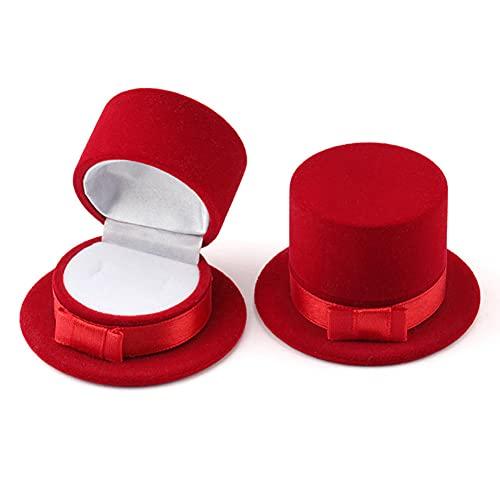 USNASLM 2 piezas hermosa caja de regalo superior sombrero joyería caja anillo de boda caja collar anillo caso pendientes titular para la exhibición de la joyería
