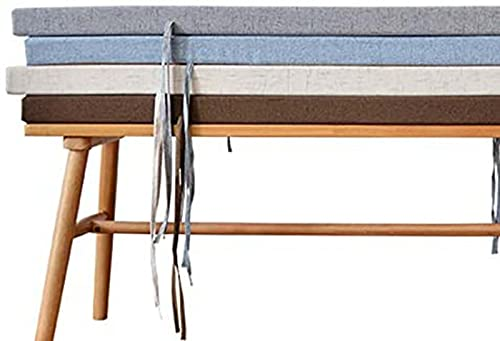 Cojín de banco de lujo para interiores y exteriores, antideslizante, grande de 3/5 cm de grosor, cojín de banco de 2 plazas de 3 plazas con lazo, reemplazo, 100 x 35 x 5 cm, color azul