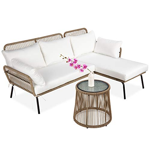 Best Choice Products Outdoor Rope Woven Sectional Patio Furniture L-Shaped Conversation Sofa Set for Backyard, Porch w/Thick Cushions, Detachable Lounger, Side Table