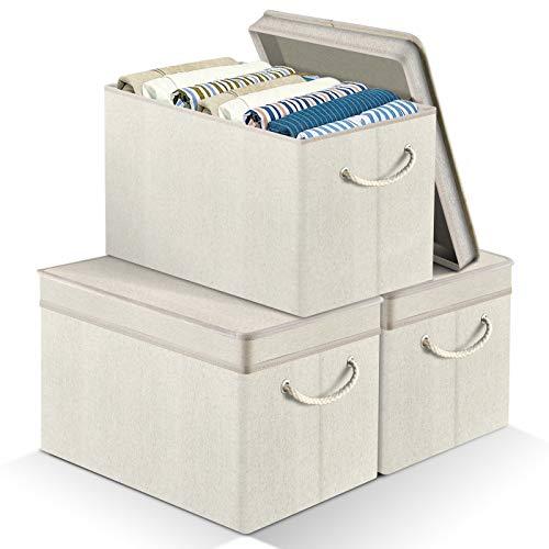 APLKER Conjunto de 3 Cajas de Almacenaje Tela, Plegable Cajas Almacenaje Ropa Cajas Almacenaje Decorativas con Tapa y Asa - Set de 3, Beige