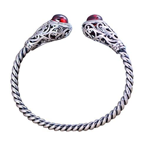 FORFOX Damen Vintage Echt 925 Sterling Silber Seil offener Armreif mit roten Granat Steinen Verstellbar 55mm