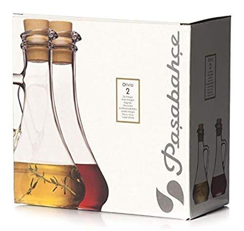 Pasabahce 80108-2er Set Öl & Essigflasche mit Kunststoffkorken Olivia Toskana, Essigkännchen & Ölkännchen, 2er Set
