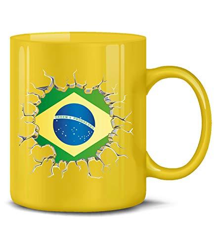 Brasilien Brazil Brasil Fan Artikel 5671 Fuss Ball Welt Europa Meisterschaft WM 2022 Kaffee Tasse Becher Geschenk Ideen Fahne Flagge Team Gelb