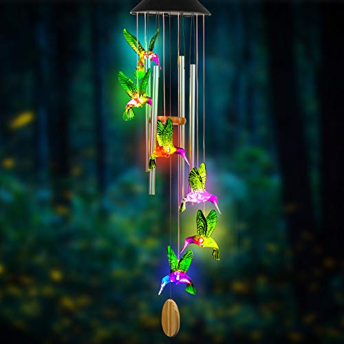 AcmeThink Wind Chimes,Hummingbird Solar Wind Chimes for Outside,Aluminum Tubes Memorial Wind Bell for Garden/Patio Decor Thanksgiving Gifts for Mom, Wife, Grandma Neighbors(25 Inch Deep Tone)