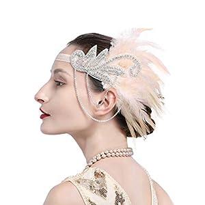 Zivyes 1920s Gatsby Flapper Feather Headband 20s accessories Crystal Beaded Wedding Headpiece