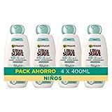 Garnier Original Remedies Ultra Suave Delicatesse de Avena Crema de arroz y Leche de Avena Champú Suave para Niños- 4x400 ml