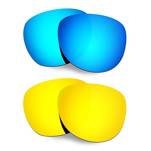 HKUCO Mens Replacement Lenses For Oakley Stringer Blue/24K Gold Sunglasses