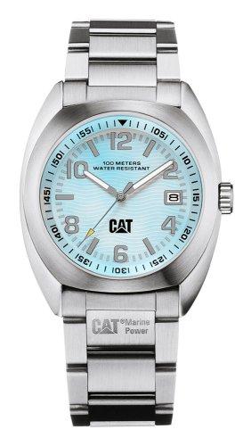 Caterpillar Skipper Date CA0746 - Reloj analógico de mujer de cuarzo con correa de acero inoxidable plateada