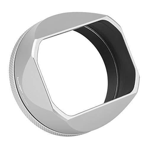Haoge LH-X54W Metall Rechteckig Sonnenblende Gegenlichtblende mit 49mm Adapterring für Fujifilm Fuji FinePix X100V Kamera Objektiv Silber