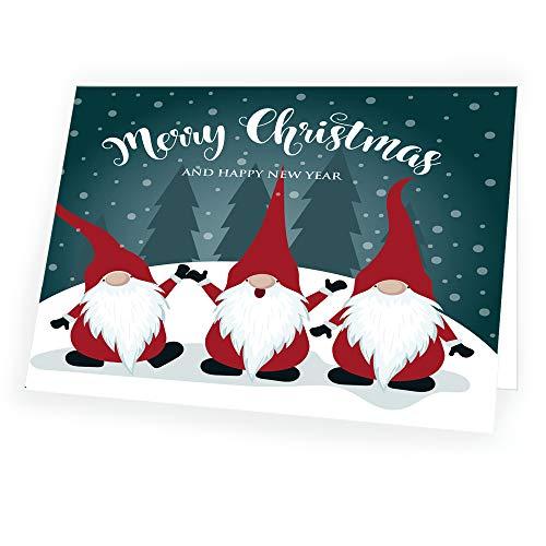 Biglietto Di Natale Di Alta Qualità Con Babbo Natale In Formato 14,8 Cm X 10,5 Cm Con Busta Abbinata, 1 Biglietto E 1 Busta.