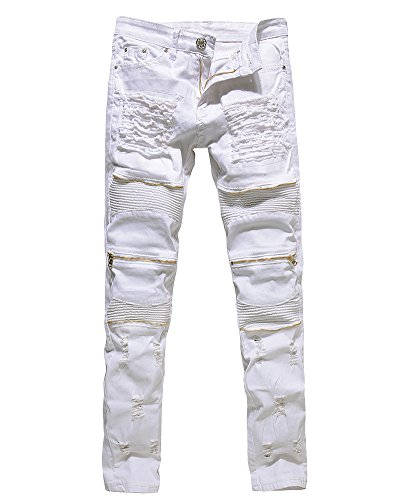 Herren Biker Jeans Stretch Denim Hose Slim Fit Zipper Zerrissen Jeanshosen Weiß 32
