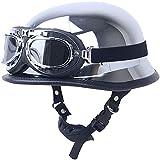 Medio casco-Casco jet retro Chopper Pilot Casco de moto antiguo Casco de motociclista Casco de scooter Certificado ECE · Incluye gafas (55-64cm),M
