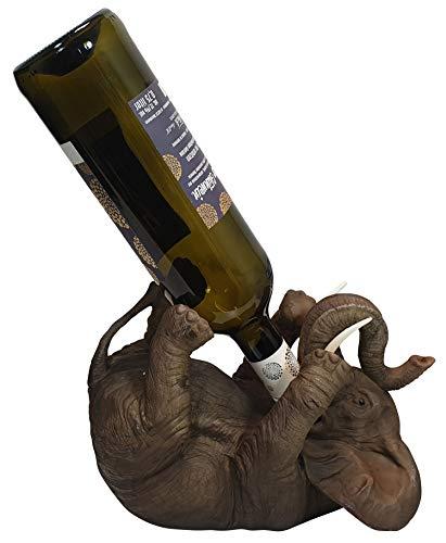Flaschenhalter Weinflaschenhalter durstiger Elefant Figur Skulptur lustige Deko Glückelefant