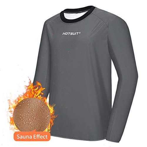 HOTSUIT Sauna Sportanzug Herren Saunaanzüge Abnehmen Schwitzanzug Fitness Lang Sport Shirt Trainingshose, Grau, XL