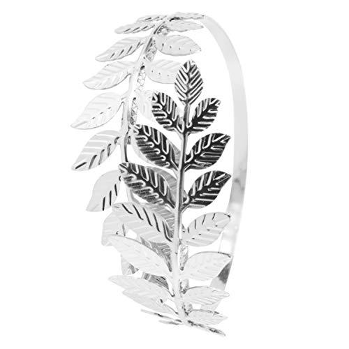 Happyyami Blatt Armband Armband Eisen Verstellbar Offener Mund Lorbeer Blatt Zweig Armreif Braut Arm Manschette Schmuck für Hochzeit Bithday Geschenke Täglich (Silber)