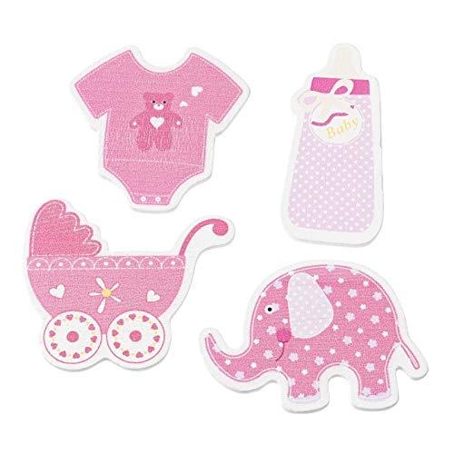 Holz Streu-Deko Streu-Teile Konfetti Holz-Sticker Baby Girl rosa pink Flasche Kinderwagen Body & Elefant Tisch-Deko Baby-Party Taufe Geburt Mädchen Bastelzubehör 1 Beutel = 12 Streuteile