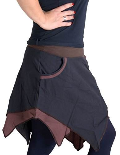 """Vishes – Alternative Bekleidung – Asymmetrischer Patchwork Zipfelrock aus Baumwolle mit """"Hosentaschen"""" braun 36"""