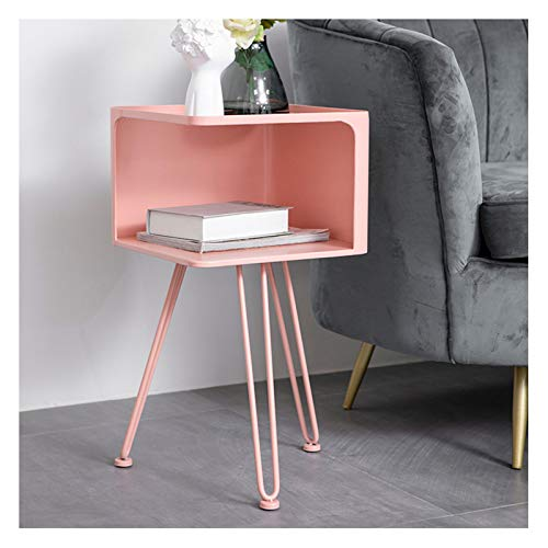 Bedside Tables Metal Double Layers Coffee Table Sofa Side Rack Home Modern Simple Storage Display Shelf Fashion Pink Furniture, 35X35X66CM