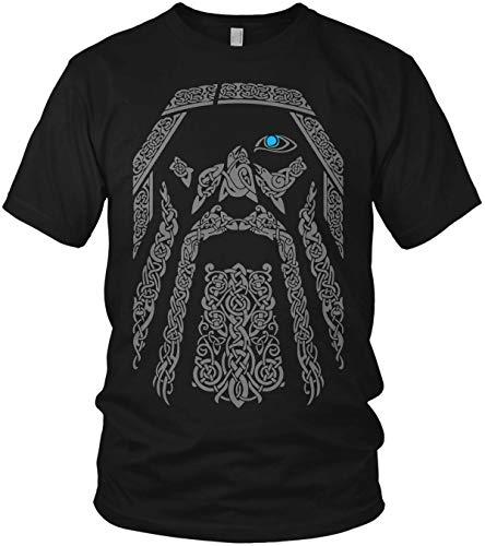 North - The Odin Runen Wikinger Rabe Valhalla Rising Walhalla Vikings Wodan - Herren T-Shirt und Männer Tshirt, Größe:L, Farbe:Schwarz Original Grau