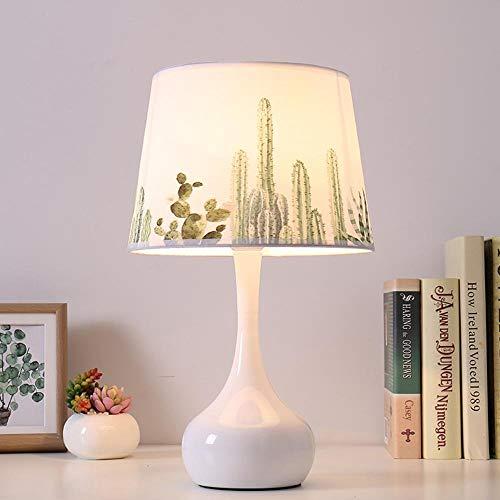SGWH / moderne, Scandinavische, minimalistische, natuurlijke veren patroon LED bureaulamp, LED nachtlampje met porselein gemaakte lamp Body gemaakt van porselein & stof lampenkap voor slaapkamer, studie, decoratie, geschenk, B