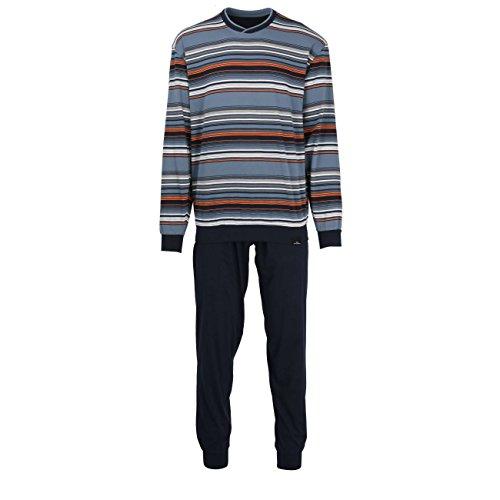 Götzburg Herren Pyjama, Schlafanzug, Shirt und Hose, Langarm, Baumwolle, Single Jersey, blau, gestreift, mit Bündchen 48