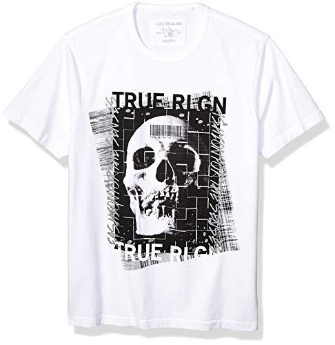 True Religion Herren Embellished Skull Tee T-Shirt, Weiß (White 1700), Small (Herstellergröße: S)