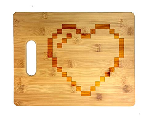 8-Bit Heart Video Game - Laser Engraved Bamboo Cutting Board - Wedding, Housewarming, Anniversary, Birthday, Father's Day, Gift