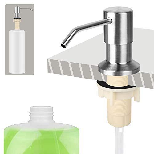 Dispensador de Jabón Liquido para Fregadero, incorporado de 500ml Botella con rotación de 360 ° Dispensador de fregadero de cocina de acero inoxidable Bomba de níquel cepillado Baño