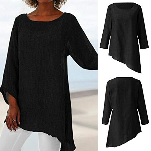 Great Deal! Women Tunic Blouse Cotton 3/4 Sleeve Casual Asymmetric Hem Pullover Tops Solid Loose Sco...