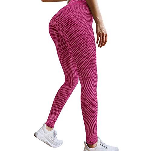 Dasongff Leggings da donna, sportivi, da yoga, a vita alta, con push-up, senza cuciture, per yoga, a nido d'ape, per lo yoga, a nido d'ape, a nido d'ape, leggings, Colore: rosa., XS