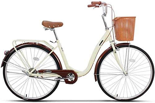 LJXiioo Vélo de croisière pour Femmes, Cadre en Aluminium de transmissions à 6 Vitesses, Cadres en Acier Moyen, Voiture de Banlieue légère pour étudiants de la Ville de Plage pour Adultes,A,24IN