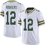 WLLIT NFL Football Jersey Packers # 12 Rodgers 52 21 87 Nelson Camiseta de fútbol de Manga Corta Para Hombre, Camiseta Deportiva de Manga Corta-C7-L