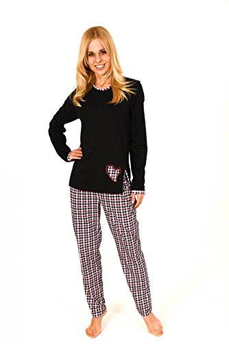 Normann dames pyjama lang met geruite broek en hart applicatie - 59623, maat: 44/46; kleur: zwart