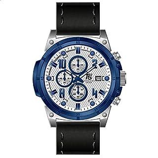 T5 H3436G-K Blue Bezel Leather Round Analog Watch for Men - Black