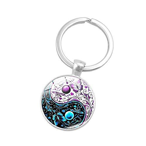 Kyoidy 1 Pcs Yin Yang Tai Chi Keychain Pet Paw Cat Butterfly Print Key Ring for Women,Style 5